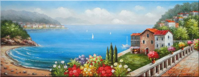 801x311 Vacation Villa With Stunning Ocean View To Mediterranean Sea Oil - Ocean View Painting