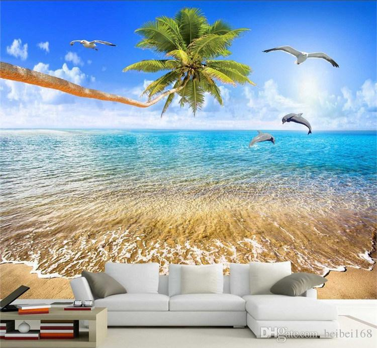 750x693 Custom Mural Wallpaper Sea View Beach Coconut Trees Dolphin Photo - Ocean View Painting