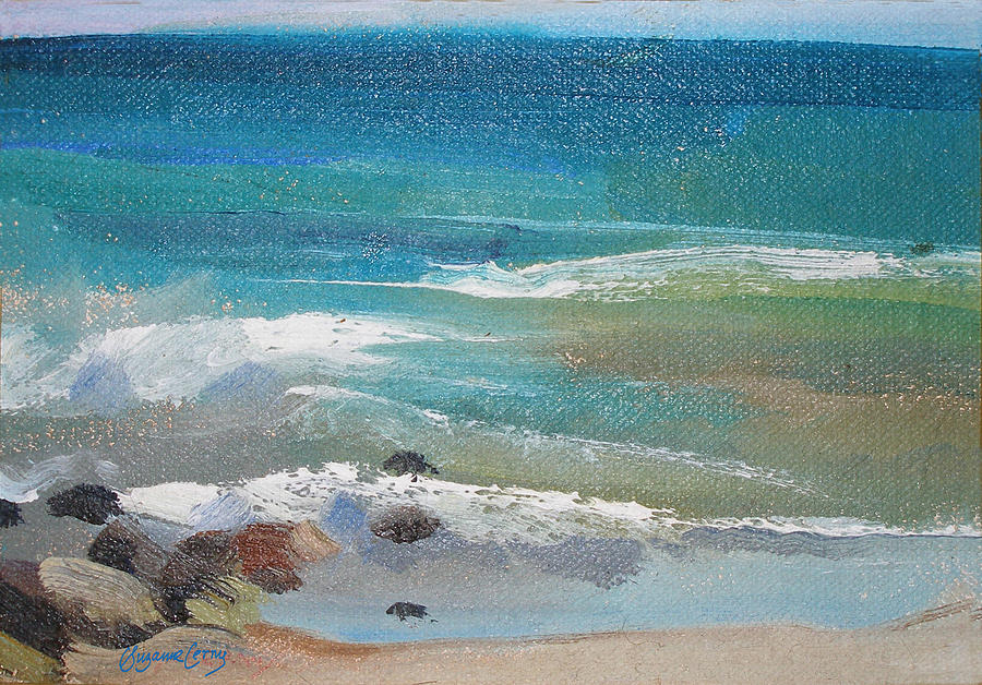 900x628 Mendocino Coast Ocean View Painting By Suzanne Cerny - Ocean View Painting