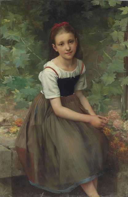 416x640 Handmade Oil Painting Reproduction Young Girl With Flowers By - Painting Of Young Girl