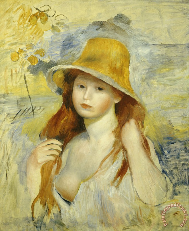787x960 Pierre Auguste Renoir Young Girl With A Straw Hat Painting - Painting Of Young Girl