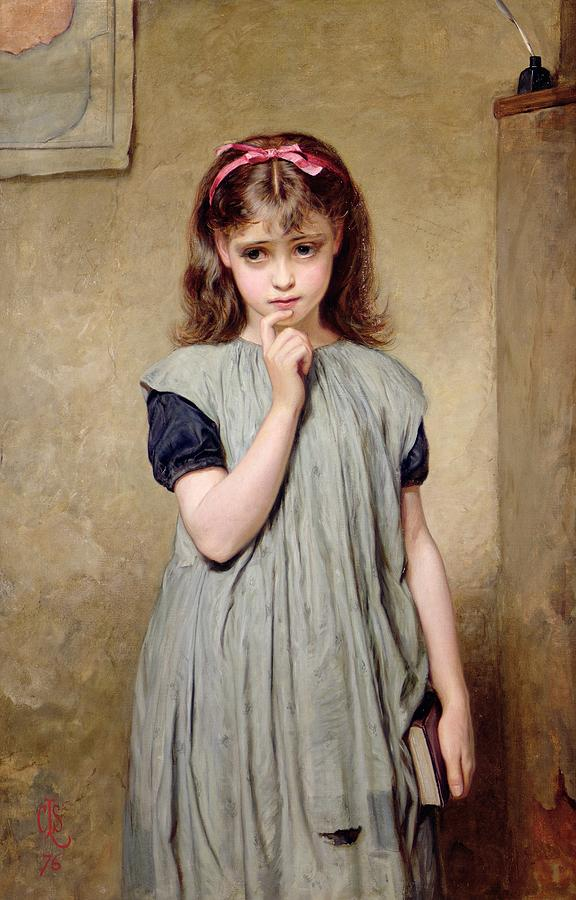 576x900 A Young Girl In The Classroom Painting By Charles Sillem Lidderdale - Painting Of Young Girl