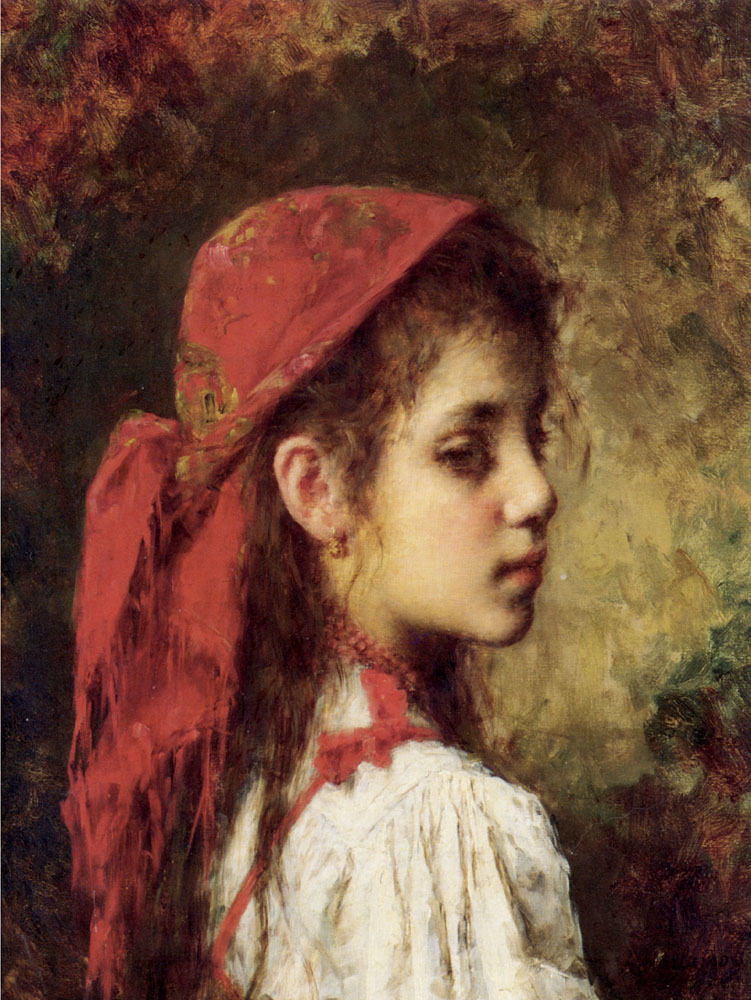 751x1000 Portrait Of A Young Girl In A Red Scarf By Alexey Alekseevich - Painting Of Young Girl