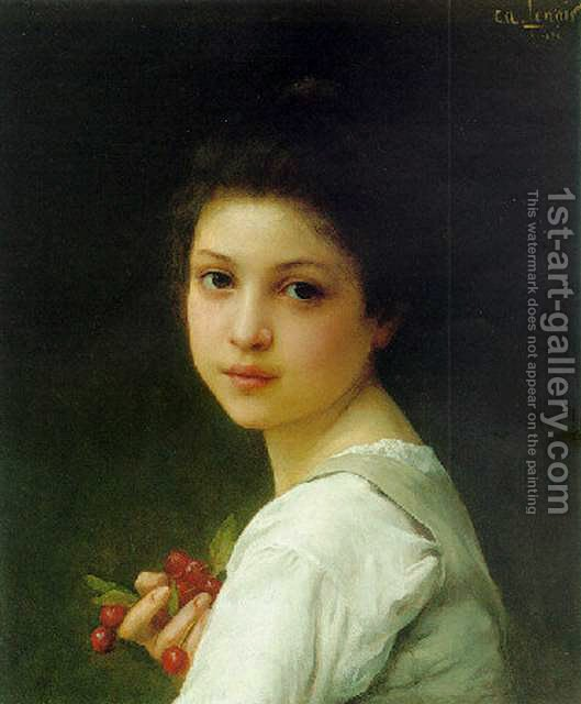 529x640 Portrait Of A Young Girl With Cherries Lenoir Charles Amable - Painting Of Young Girl