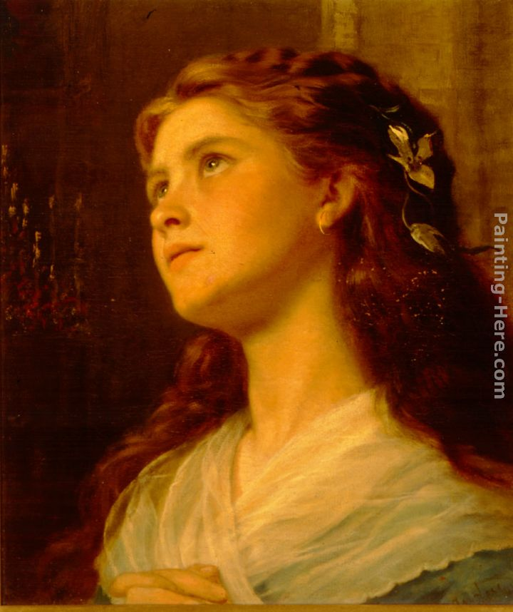 720x858 Sophie Gengembre Anderson Portrait Of A Young Girl Painting - Painting Of Young Girl