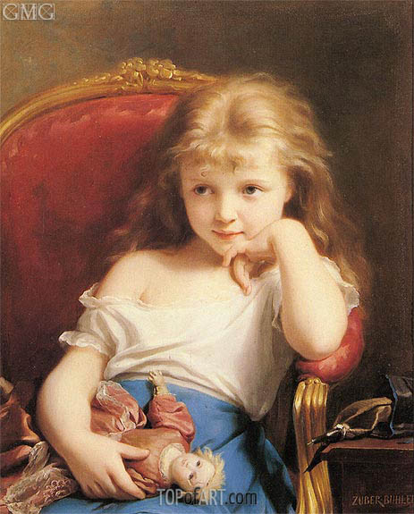 463x575 Young Girl Holding A Doll Zuber Buhler Painting Reproduction - Painting Of Young Girl