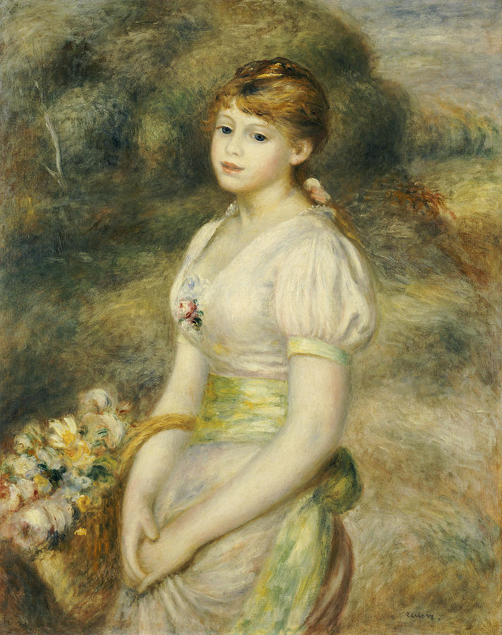 712x900 Young Girl With A Basket Of Flowers Painting By Pierre Auguste Renoir - Painting Of Young Girl