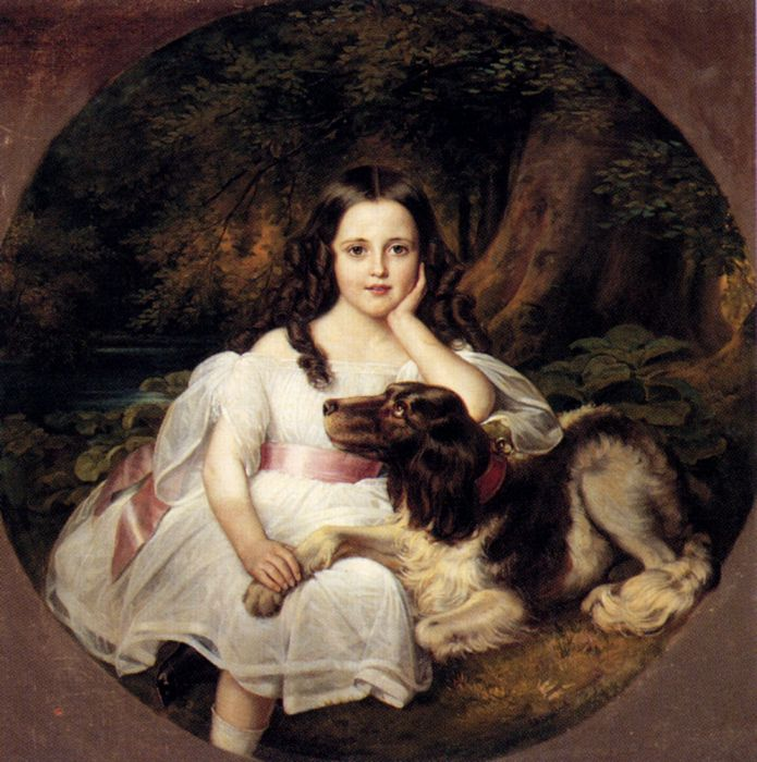 695x700 A Young Girl Resting In A Landscape With Her Dog - Painting Of Young Girl