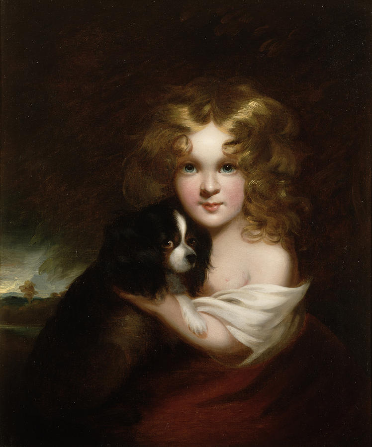 748x900 Young Girl With A Dog Painting By Margaret Sarah Carpenter - Painting Of Young Girl