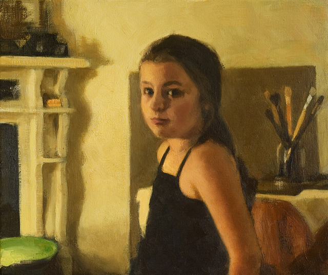 640x538 Alex Heyes Artwork Young Girl In The Painters Studio Original - Painting Of Young Girl