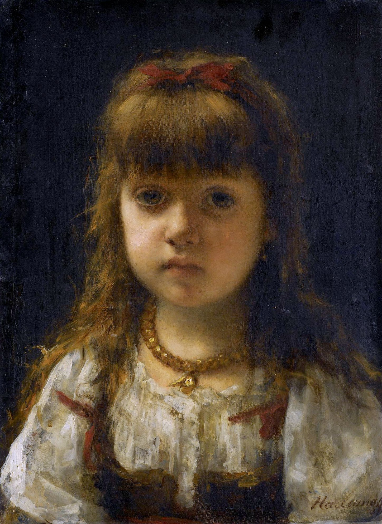 1448x1989 Alexei Alexeivich Harlamoff. Portrait Of A Young Girl Alexei - Painting Of Young Girl