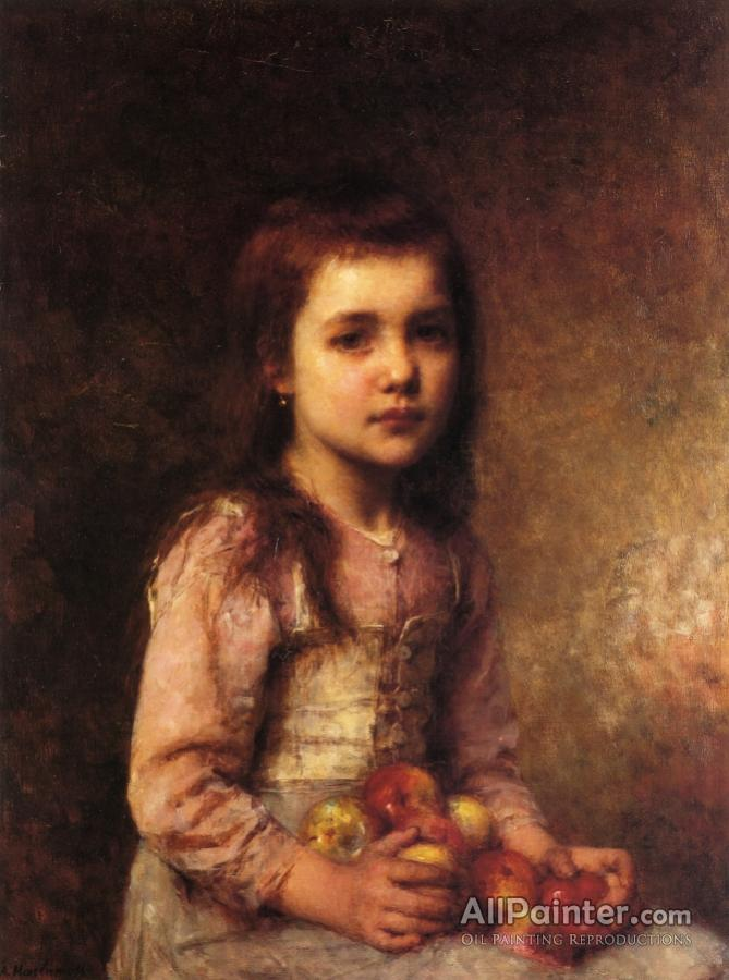 669x900 Alexei Harlamoff Portrait Of A Young Girl With Apples Oil Painting - Painting Of Young Girl