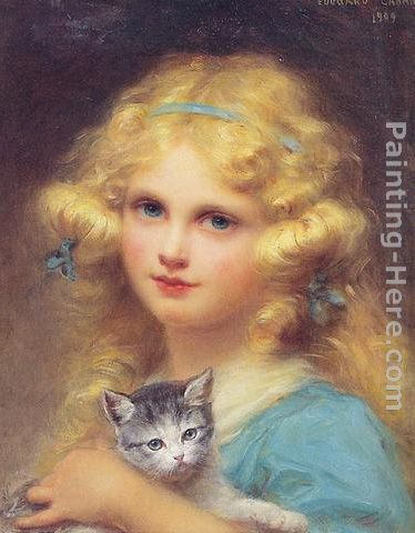 374x480 Edouard Cabane Portrait Of A Young Girl Holding A Kitten Painting - Painting Of Young Girl