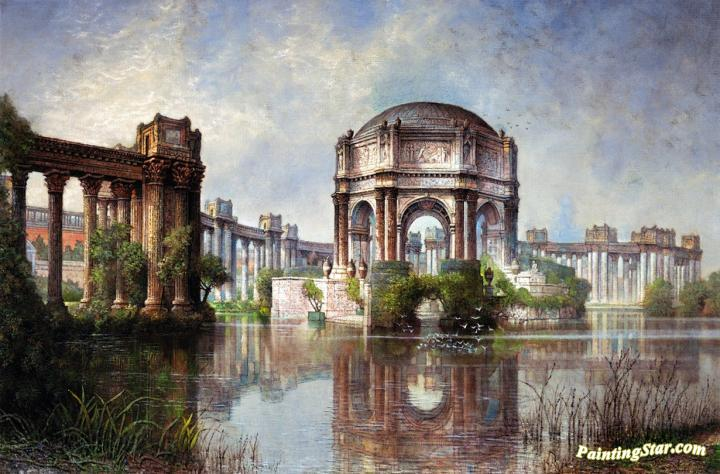 720x474 Palace Of Fine Arts And The Lagoon Artwork By Edwin Deakin Oil - Palace Painting