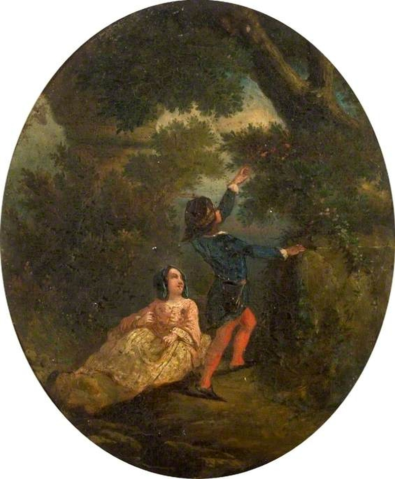 800x970 Young Man Reaching Up To Pick Flowers For A Young Lady Painting - Reaching Painting