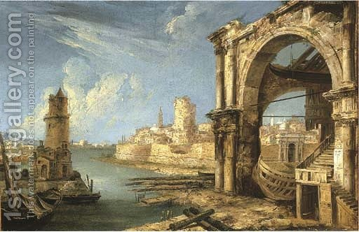 512x332 A Capriccio Of Roman Buildings With A Shipyard By A Lagoon Michele - Shipyard Painting
