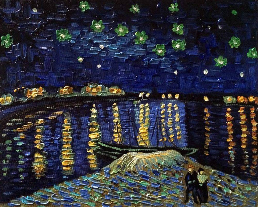 1000x800 Van Gogh - Starry Night Over The Rhone Painting