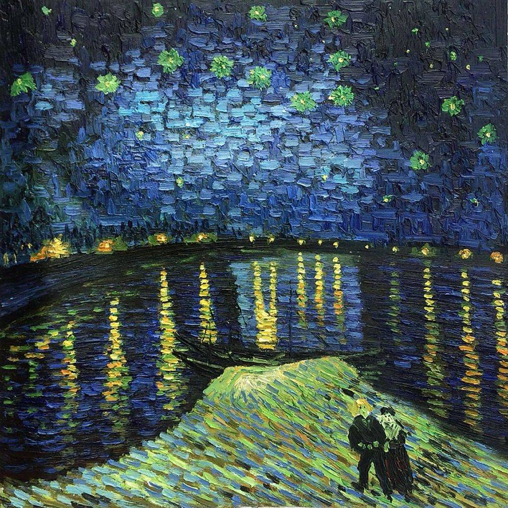 1000x1000 Vincent Van Gogh, Starry Night Over The Rhone - Starry Night Over The Rhone Painting