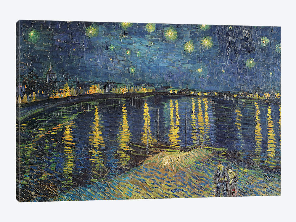1000x750 Starry Night Over The Rhone, 1888 Canvas W Vincent Van Gogh - Starry Night Over The Rhone Painting
