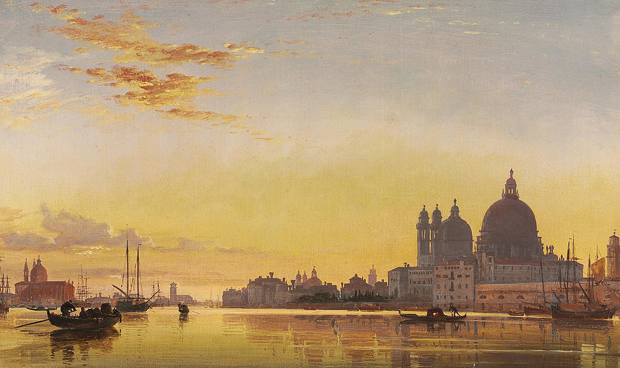 900x534 Sunset On The Lagoon Of Venice Painting By Edward William Cooke - Sunset In Venice Painting