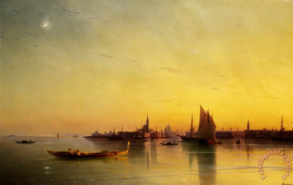 960x606 Ivan Ayvazovsky Venice From The Lagoon - Sunset In Venice Painting