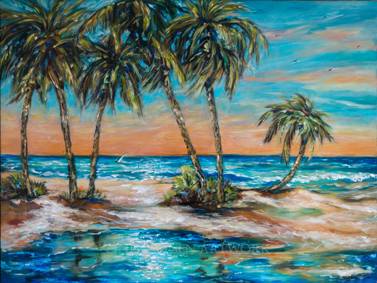 750x563 Tropical Island Lagoon Portrayed In Colorful Landscape - Tropical Island Painting