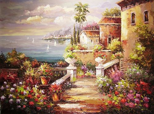 500x372 Villa With Sea View Painting,villa With Sea View Abstract - Villa Painting