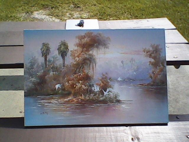 640x480 Old Florida Art Painting Beautiful Tranquil Lagoon Detail Florida - W Riley Painting