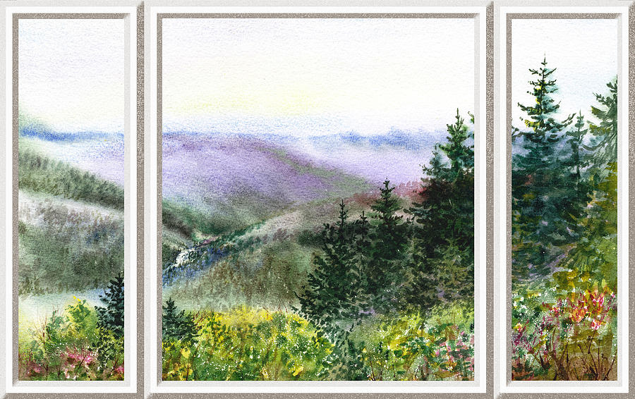 900x566 Forest And Mountains Window View Painting By Irina Sztukowski - Window View Painting