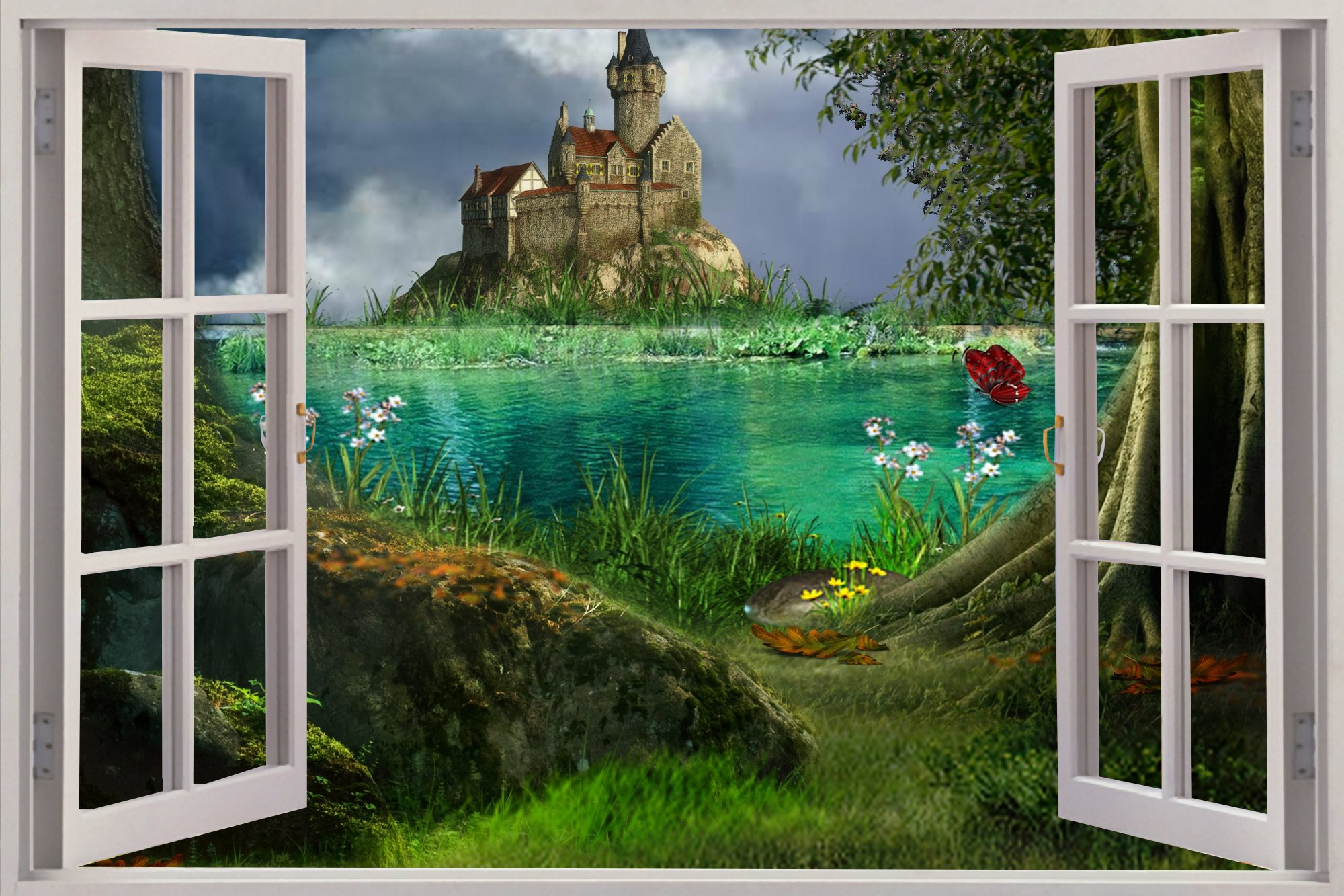 2000x1333 Huge 3d Window View Enchanted Castle Wall Sticker Mural Art Decal - Window View Painting