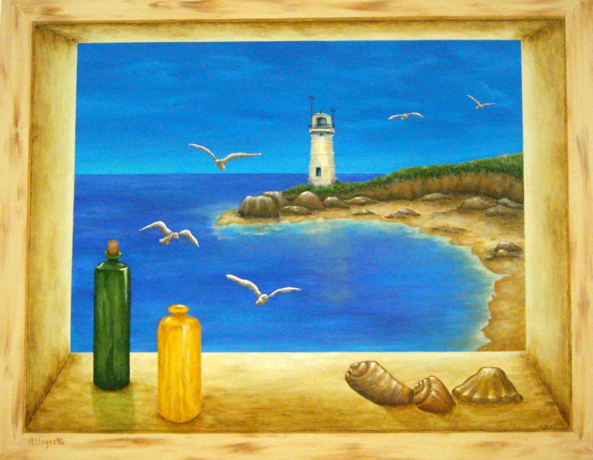 1200x931 Lighthouse View (Pamela Allegretto Franz) - Window View Painting