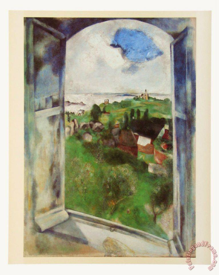 766x960 Marc Chagall Window With View On The Island Brehat C 1924 Painting - Window View Painting