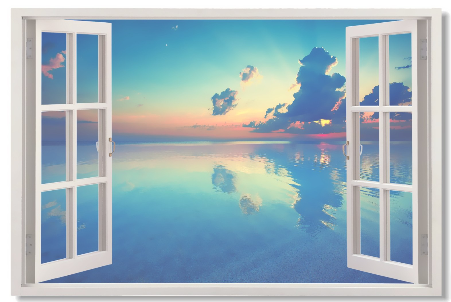 1572x1052 1x Poster Window View Sky Lake Sandy Beach Sea Coconut Tree Wall - Window View Painting