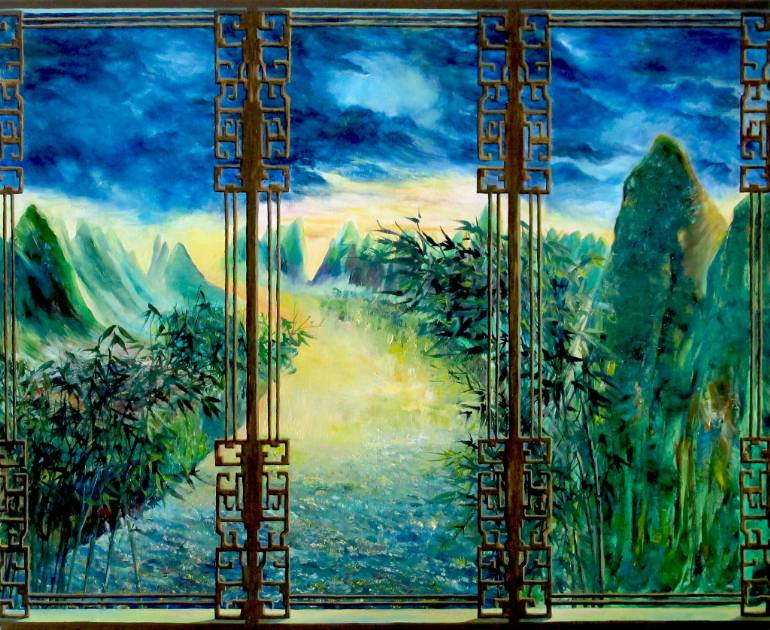770x630 Saatchi Art Three Panel Chinese Window View Painting By Yishan Chan - Window View Painting