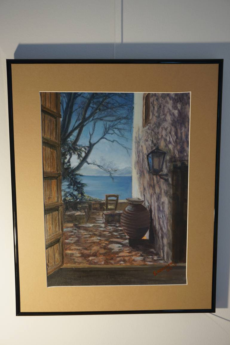 770x1155 Saatchi Art View Thought The Window In Monemvasia Painting By - Window View Painting
