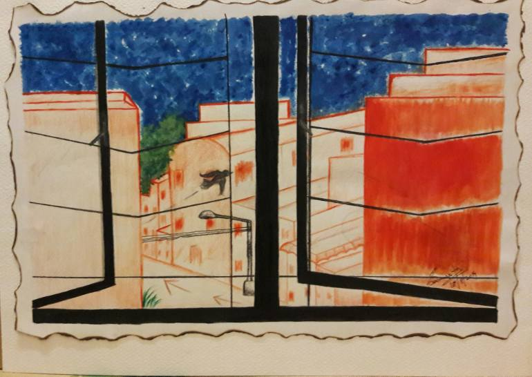 770x546 Saatchi Art Window View Painting By Samarpita Banerjee - Window View Painting