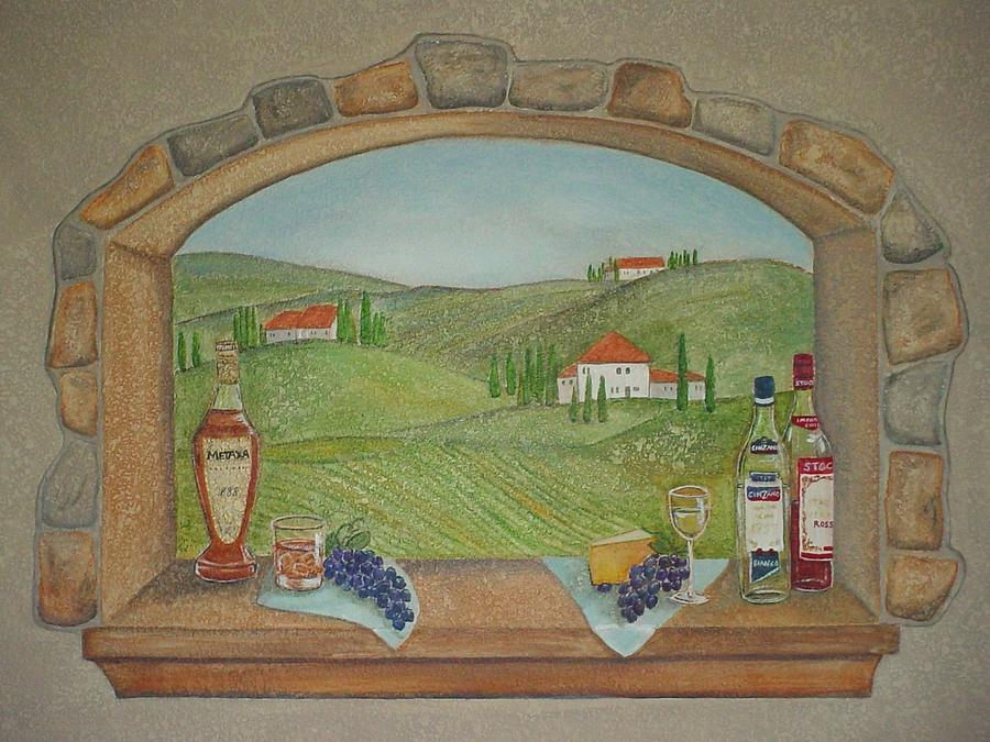 900x675 Tuscan Window View Painting By Anita Burgermeister - Window View Painting