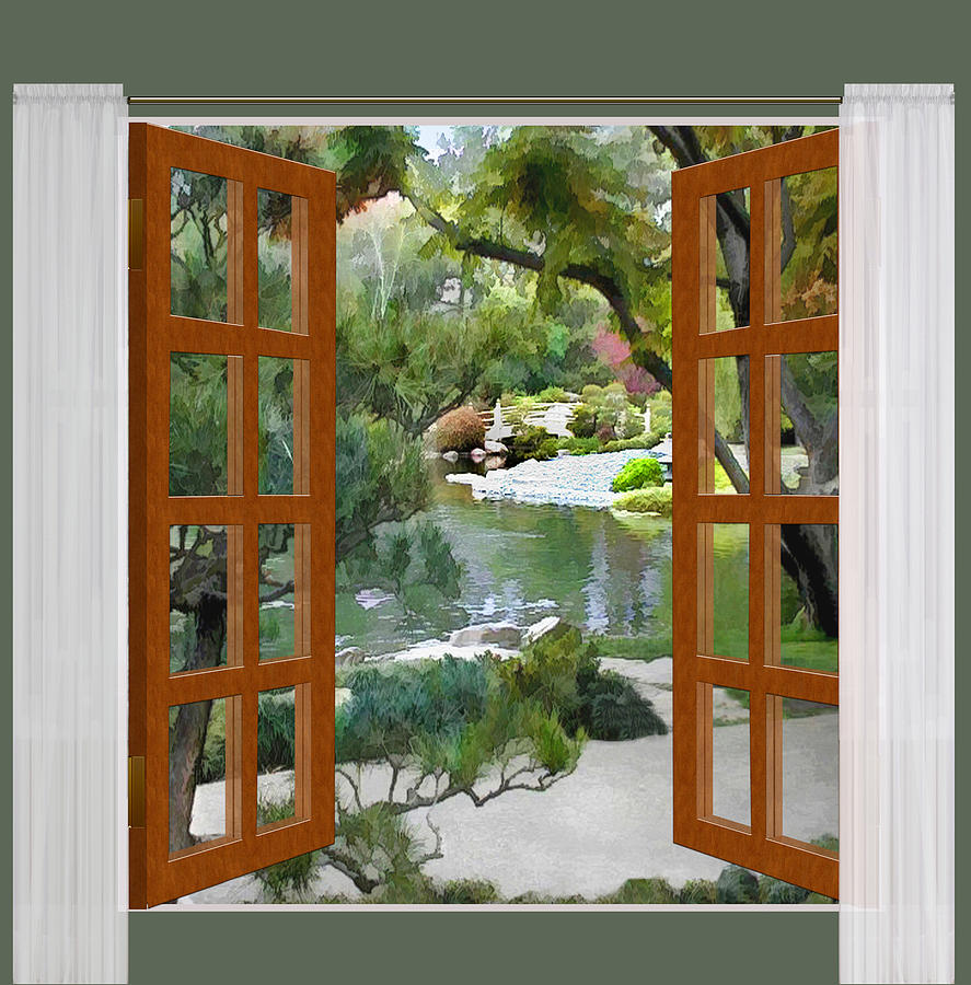 887x900 Window View Glimpse Of Tranquility Japanese Garden Painting By - Window View Painting