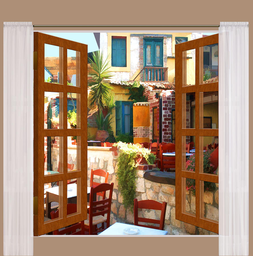 887x900 Window View Mediterranean Cafe Painting By Elaine Plesser - Window View Painting