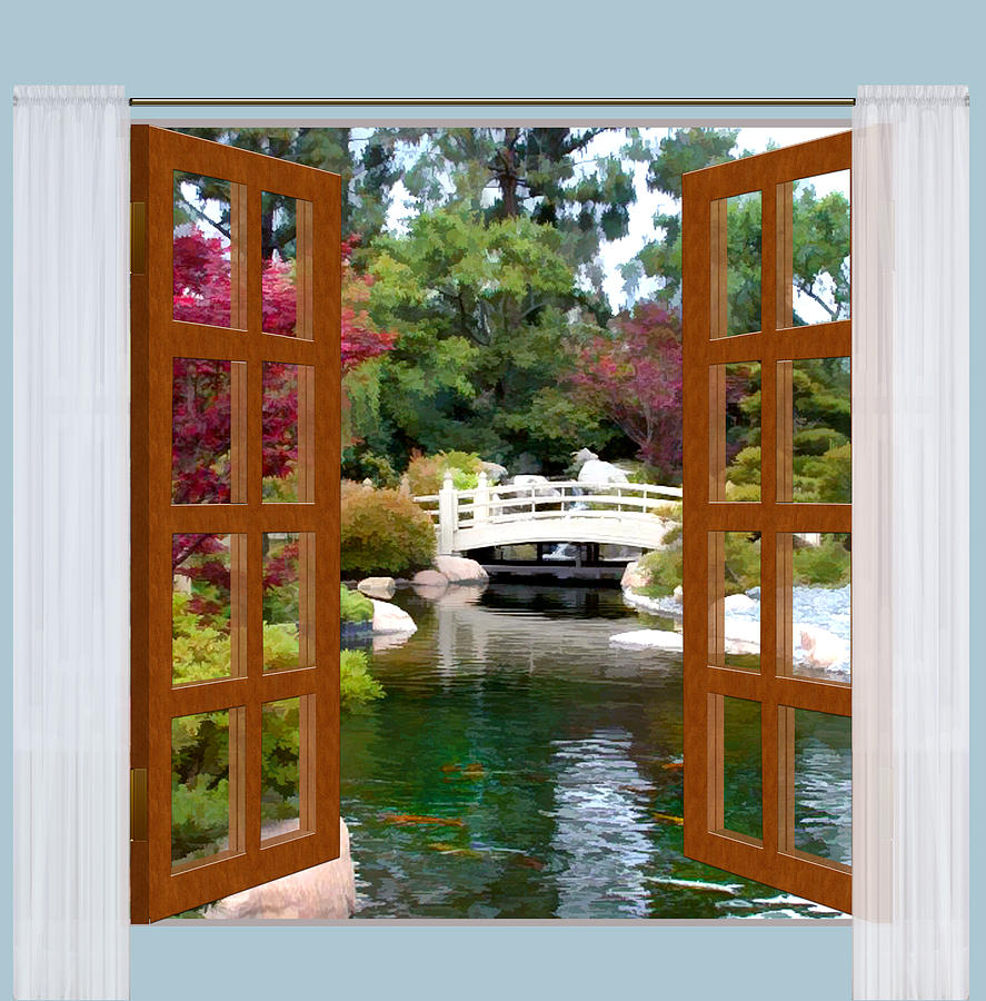 887x900 Window View Of Japanese Garden And Koi Pond Painting By Elaine Plesser - Window View Painting