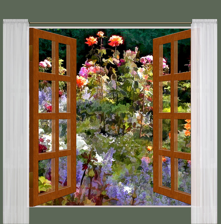 887x900 Window View Rose Garden In Sunlight Painting By Elaine Plesser - Window View Painting