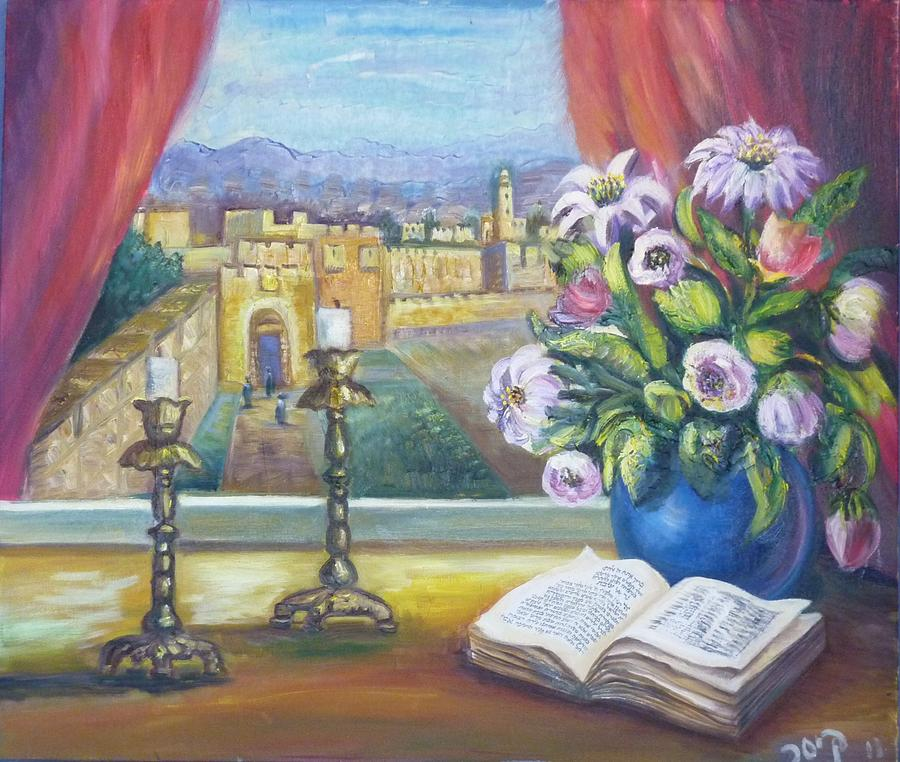 900x762 Window View To Jerusalem Painting By Sara Kesar - Window View Painting