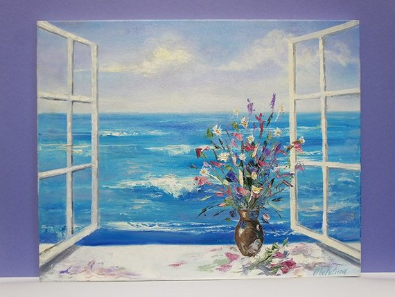 570x429 Window View Painting Seashore Painting Ocean Painting Sea - Window View Painting