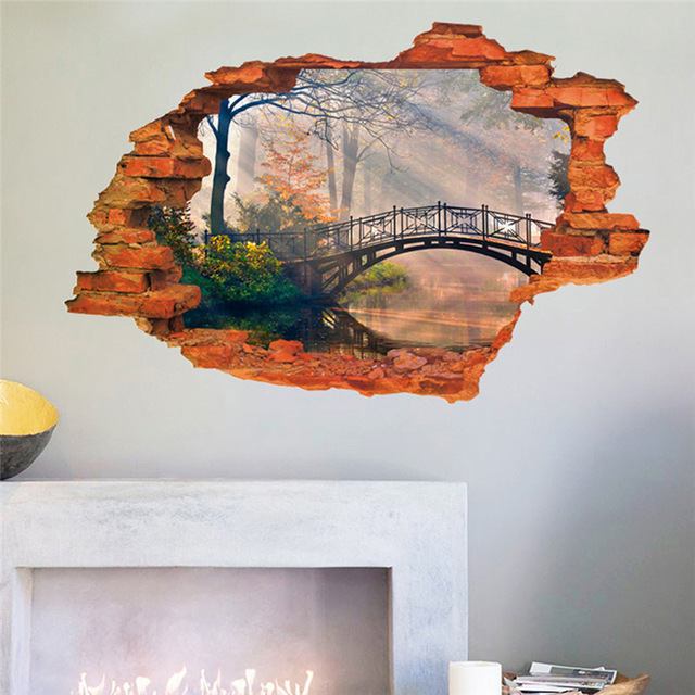 640x640 Vivid 3d Landscape Painting Window View Wall Sticker Bridge Tree - Window View Painting