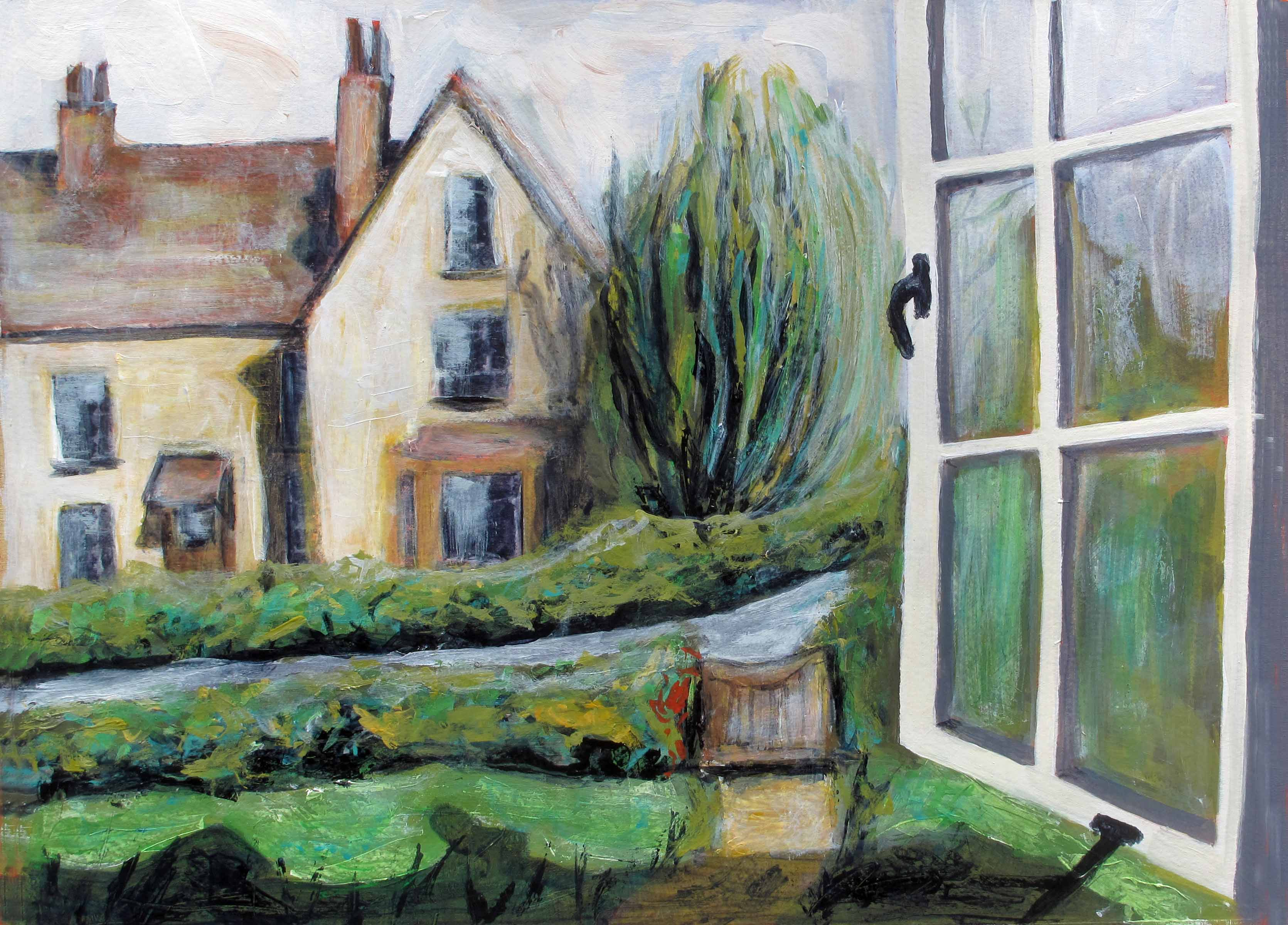 3341x2400 Exercise View From A Window Or Doorway (Painting) - Window View Painting