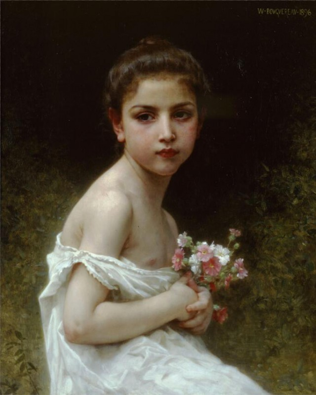640x800 Oil Painting By William Adolphe Bouguereau 05 J (Young Girl - Young Girl Painting