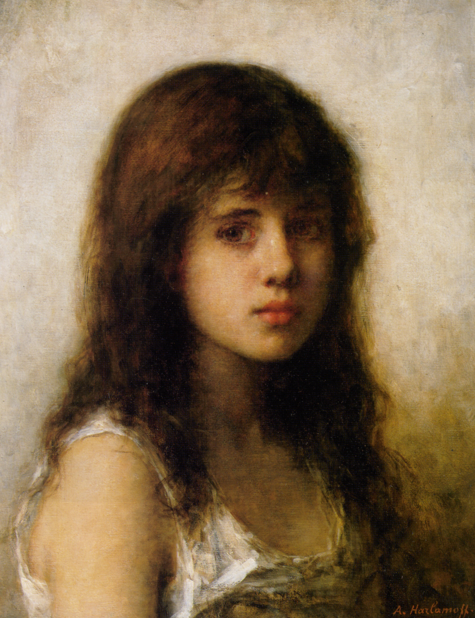 1539x2000 Portrait Of A Young Girl Alexei Alexeivich Harlamoff - Young Girl Painting