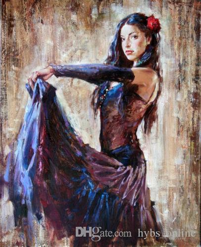 406x500 2018 Beautiful Young Girl Dancer In Nice Dress,hand Painted - Young Girl Painting