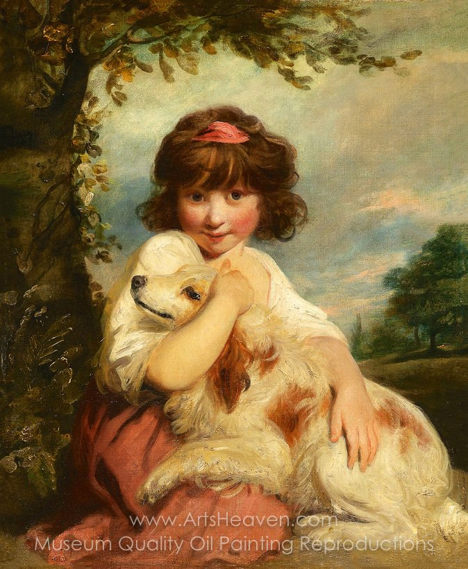 674x820 Reproduction Painting Sir Joshua Reynolds A Young Girl And Her Dog - Young Girl Painting