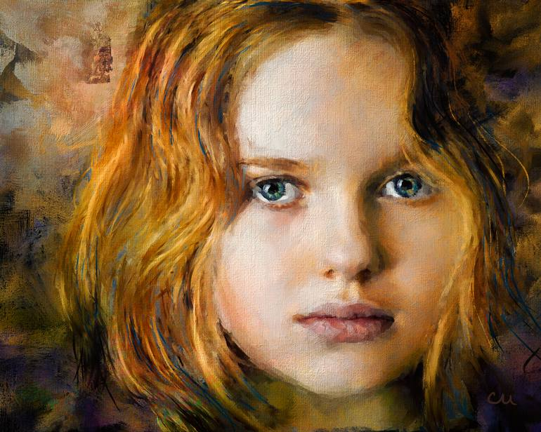 770x616 Saatchi Art Portrait Of A Young Girl Painting By Chuck Underwood - Young Girl Painting